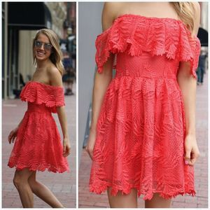 Lovers + Friends Lace Overlay Off Shoulder Dress